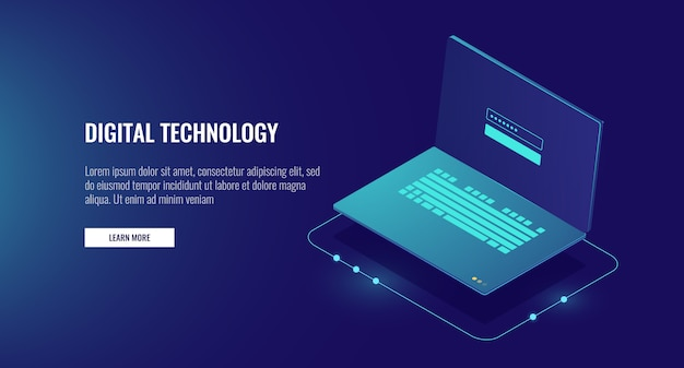 Open laptop with authorization form on screen, personal data protection and processing Free Vector