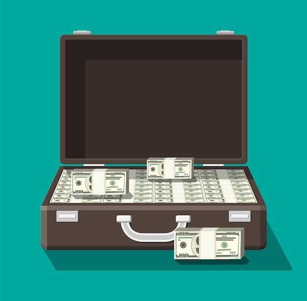 Open leather suitcase full of money. Premium Vector