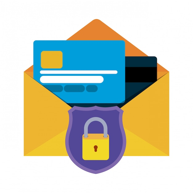 Open letter with credit card isolated icons Premium Vector