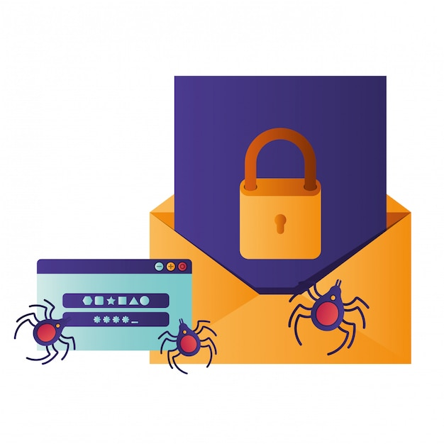 Open letter with padlock and window isolated icons Premium Vector