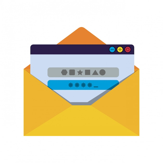 Open letter with password message isolated icons Premium Vector