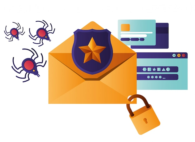 Open letter with shield and window isolated icons Premium Vector