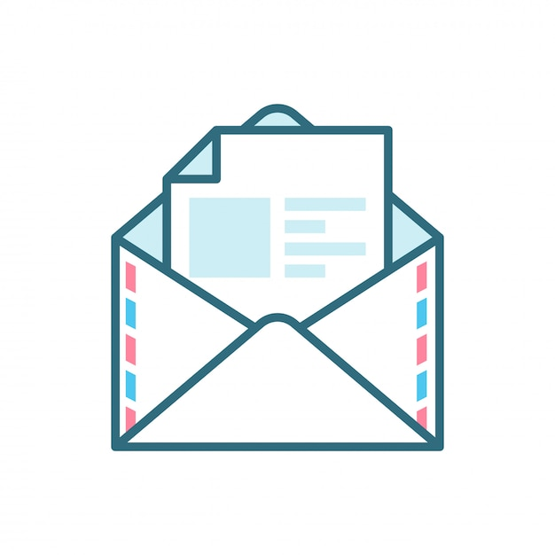 Open mail flat icon Premium Vector