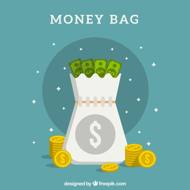 Open money bag background with banknotes and\ coins
