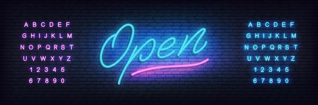 Open neon . lettering open for promotion, advertisement, sale, marketing Premium Vector