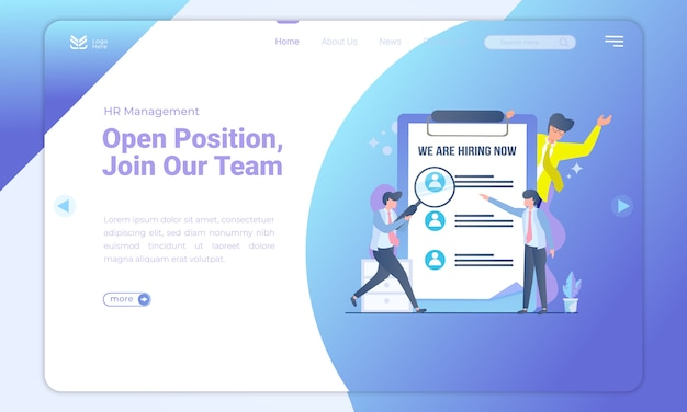 Open position we are hiring landing page template Premium Vector