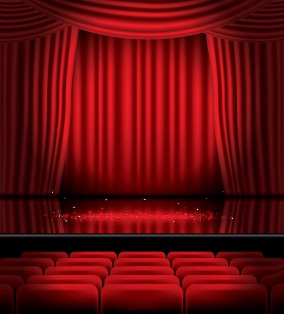 床に座席とライトが付いた赤いカーテンを開く Premiumベクター