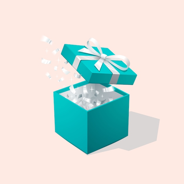 Open red gift box and confetti. christmas background. vector illustration. Premium Vector