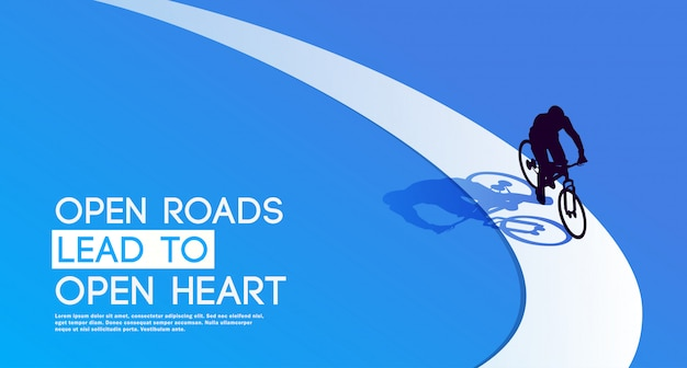 Open roads lead to open heart. cycling. bycycle. silhouette of a cyclist. Premium Vector