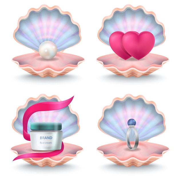 Open rosy shells with face cream bottle, two pink hearts, wedding ring with stone and pearl inside. vector seashells Premium Vector