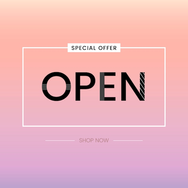 Open sign special offer vector Free Vector