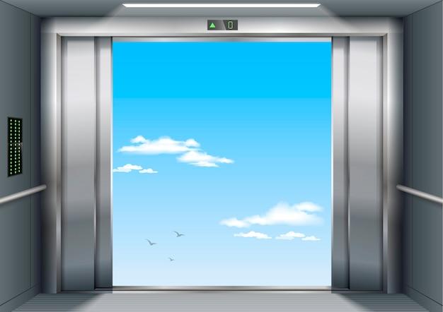 Open to sky door of the freight elevator hospital or office building Premium Vector