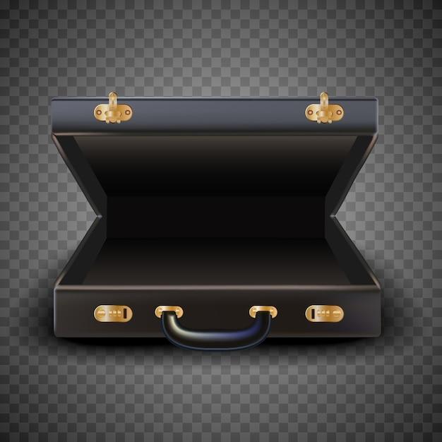 Open suitcase, man luggage, isolated. Premium Vector
