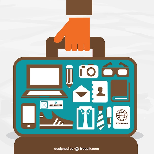 Open suitcase with travel elements Free Vector