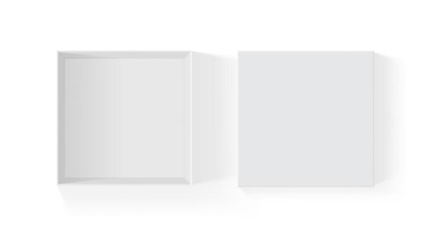 고립 된 오픈 백서 상자 프리미엄 벡터
