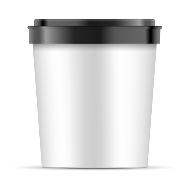 Open white paper cup with black lid for dessert Premium Vector