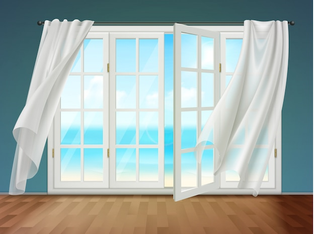 Open window with fluttering curtains Free Vector