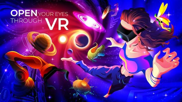 Open your eyes through vr concept illustration Premium Vector