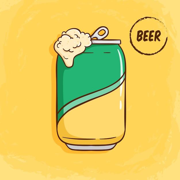 開いたビール缶黄色の色のかわいい落書きスタイルのイラスト プレミアムベクター