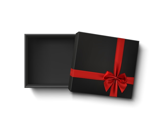 Opened black empty gift box with red ribbon and bow isolated on white background. top view. template for your presentation design, banner, brochure or poster. Premium Vector