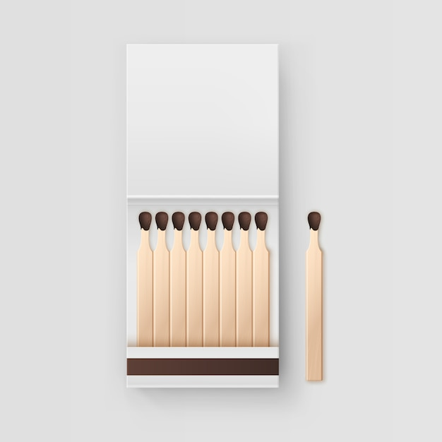 Opened blank book of matches  on white background Premium Vector