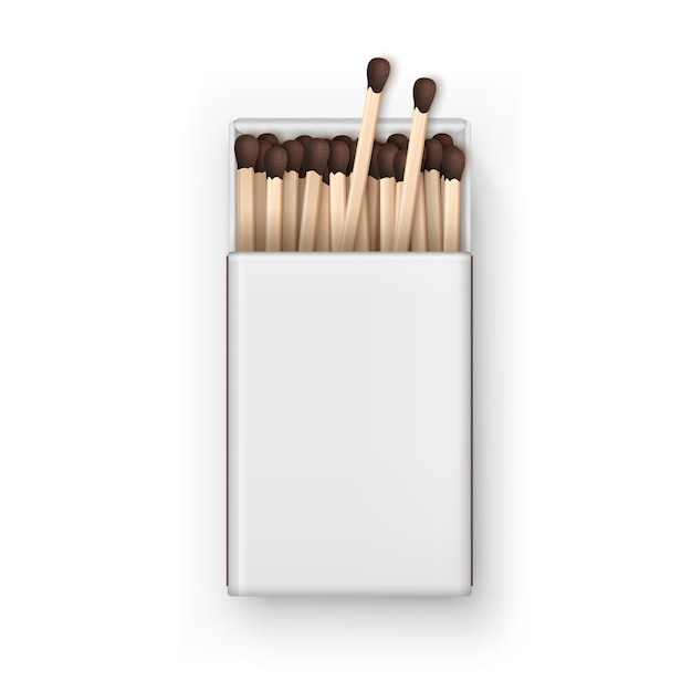 Opened blank box of brown matches top view isolated on white background Premium Vector