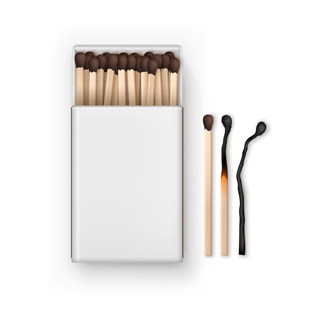 Opened blank box of brown matches with burned match isolated, top view on white Premium Vector