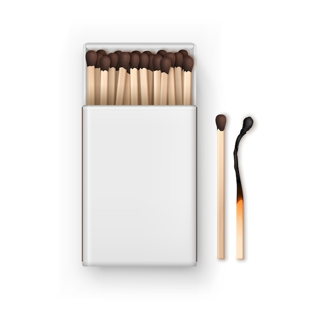 Opened blank box of brown matches with burned match top view isolated on white background Premium Vector