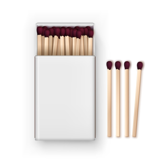 Opened blank box of red matches top view Premium Vector