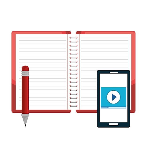 Opened book pencil and smartphone Premium Vector