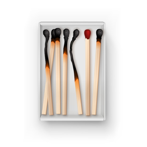 Opened box of different burned matches isolated, top view on white Premium Vector