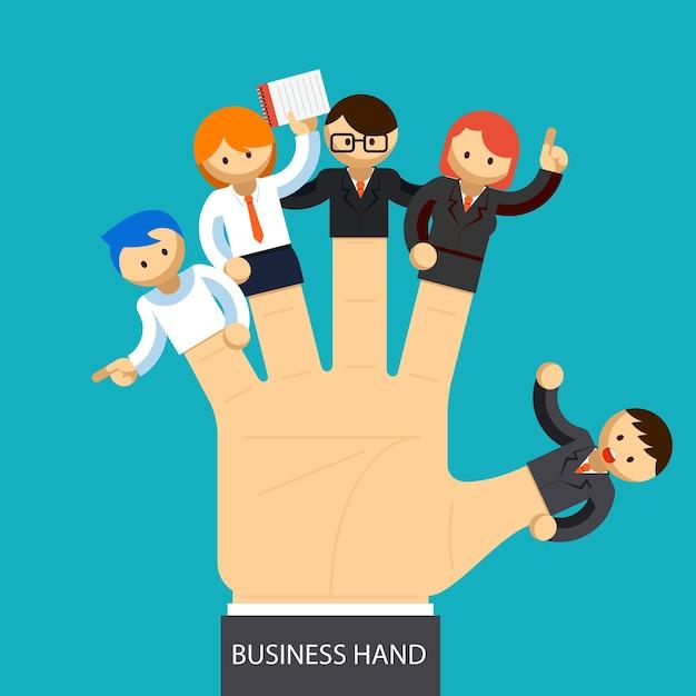Mano d'affari aperta con il dipendente su ogni dito. concetto di gestione. Vettore gratuito