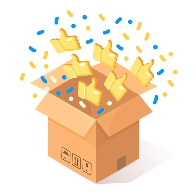 Раскрытый картон, картонная коробка с большими пальцами руки вверх на фоне. изометрическая упаковка, подарок, сюрприз с конфетти. отзывы, отзывы, концепция обзора клиентов. Premium векторы