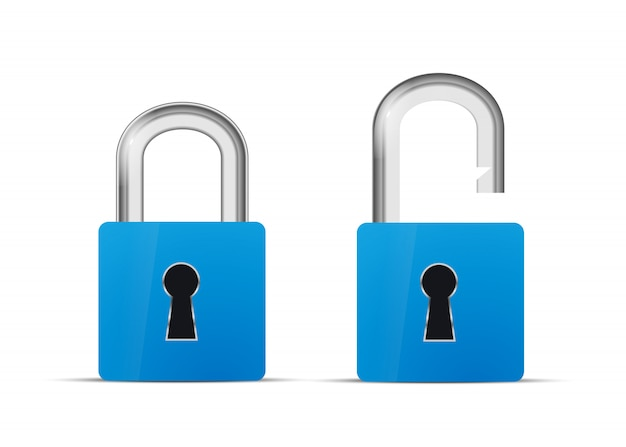 Opened and closed blue realistic lock icon isolated on white Premium Vector