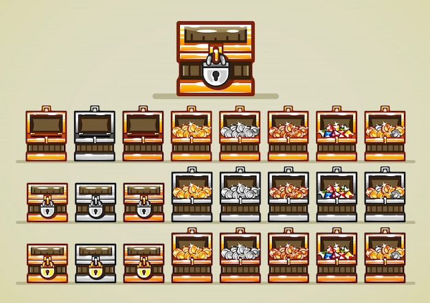 Opened and closed chests with coins and gems for video games Premium Vector