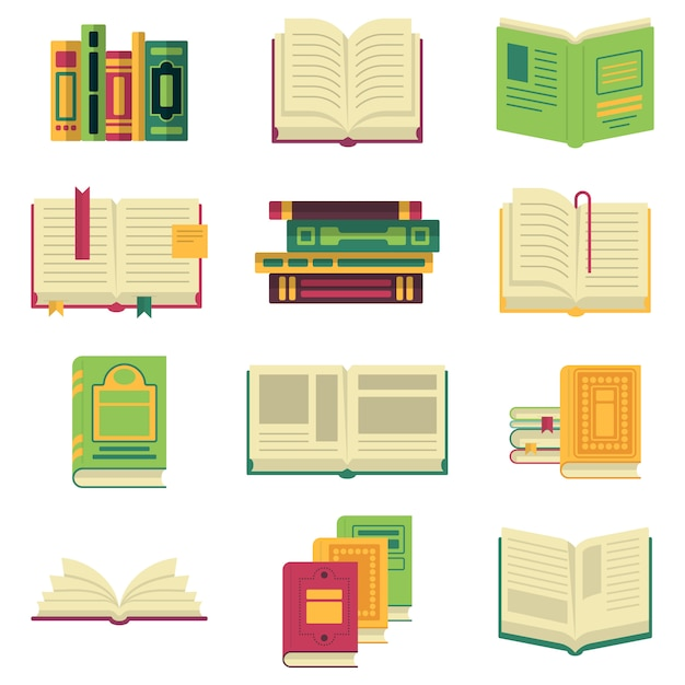 Opened and closed different books and magazines or encyclopedias. Premium Vector