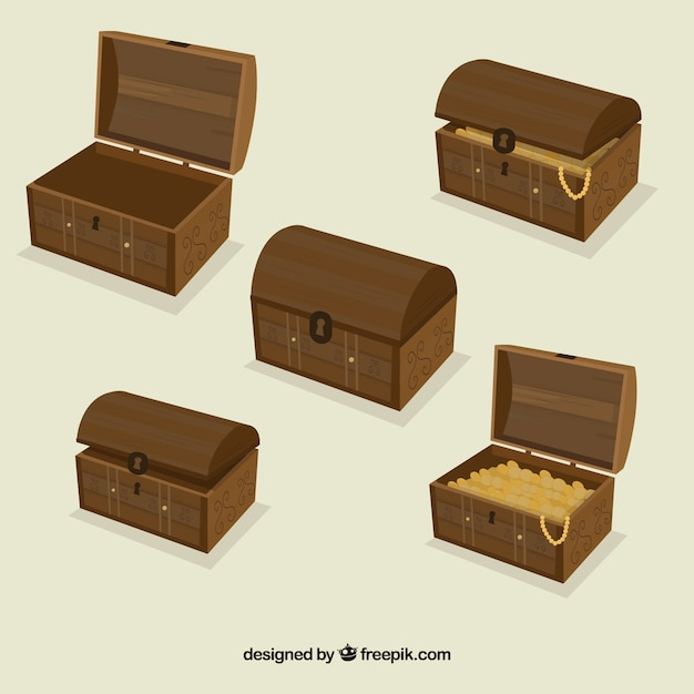 Opened and closed treasure box collection Free Vector
