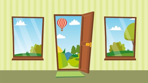 Opened door and windows Premium Vector