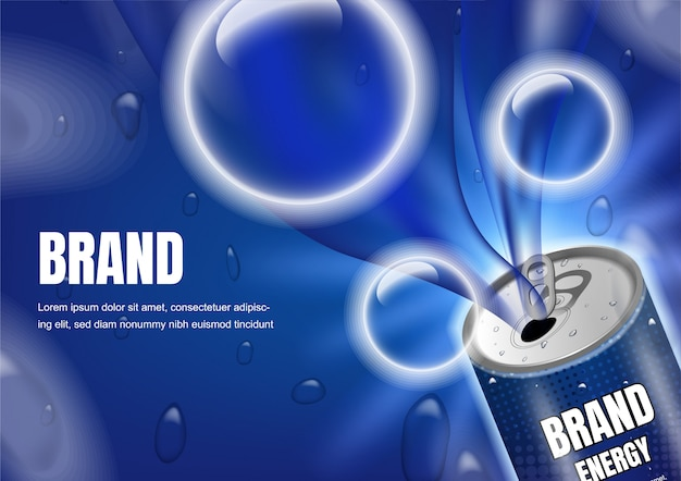 Opened drink with big bubbles Premium Vector