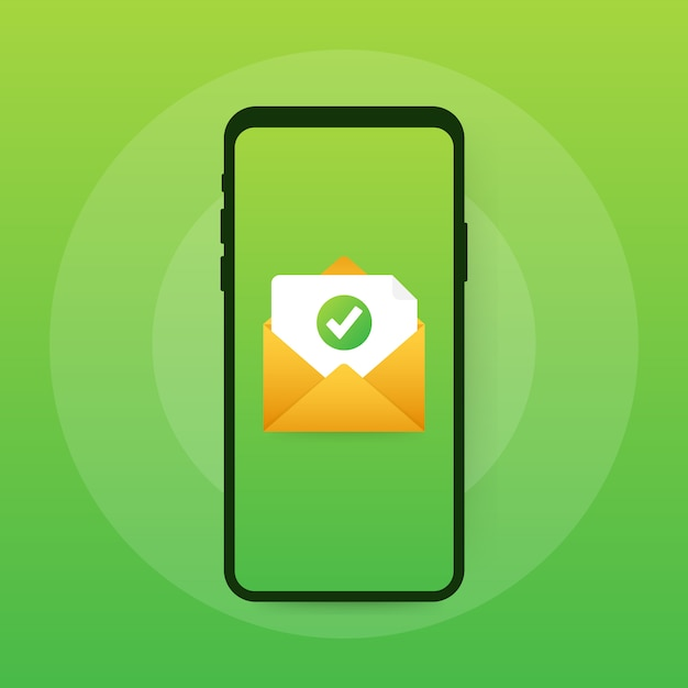 Opened envelope and document with green check mark. verification email. Premium Vector