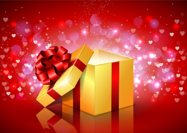 Opened gift box with flying hearts Premium Vector