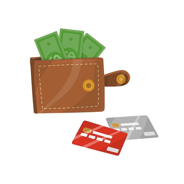 Открытый кожаный кошелек с деньгами и кредитными картами Premium векторы