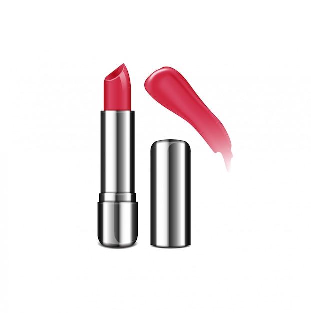開いた口紅チューブテンプレートセット。リップクリーム、シルバーのリアルなパッケージ。リップグロス色見本 Premiumベクター