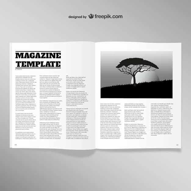 Opened magazine blank page template vector free download for Magazine templates for pages