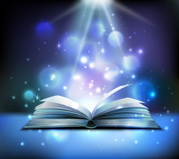 Opened magic book realistic image with bright sparkling light rays illuminating pages floating balls dark Free Vector