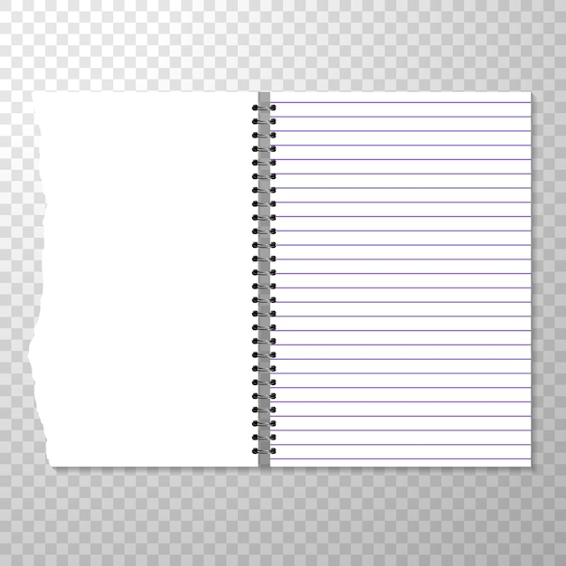 Opened notebook template with lined and blank page. Free Vector