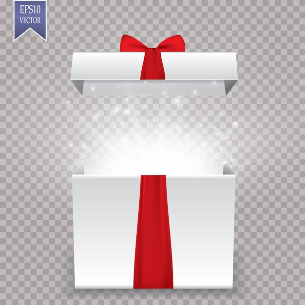 Opened realistic gift box with purple bow and abstract light. vector illustration. Premium Vector