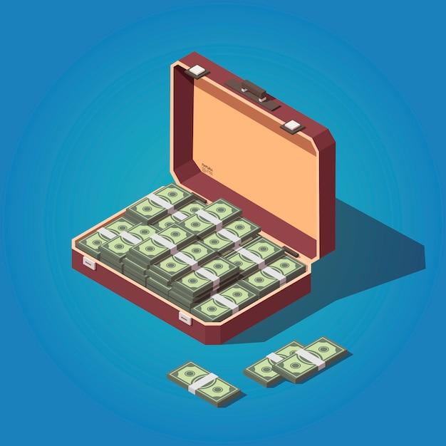 Opened suitcase full of money Premium Vector
