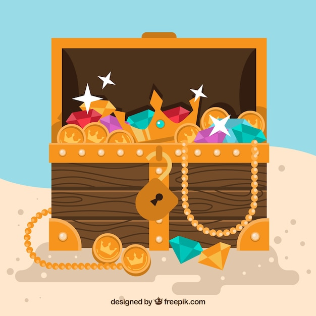 Opened treasure chest with flat design Free Vector