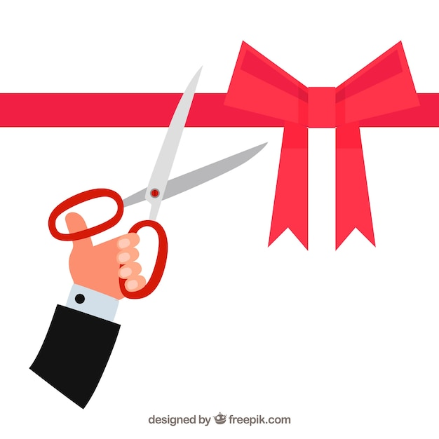 Opening background with scissors cutting a ribbon with a ribbon Free Vector